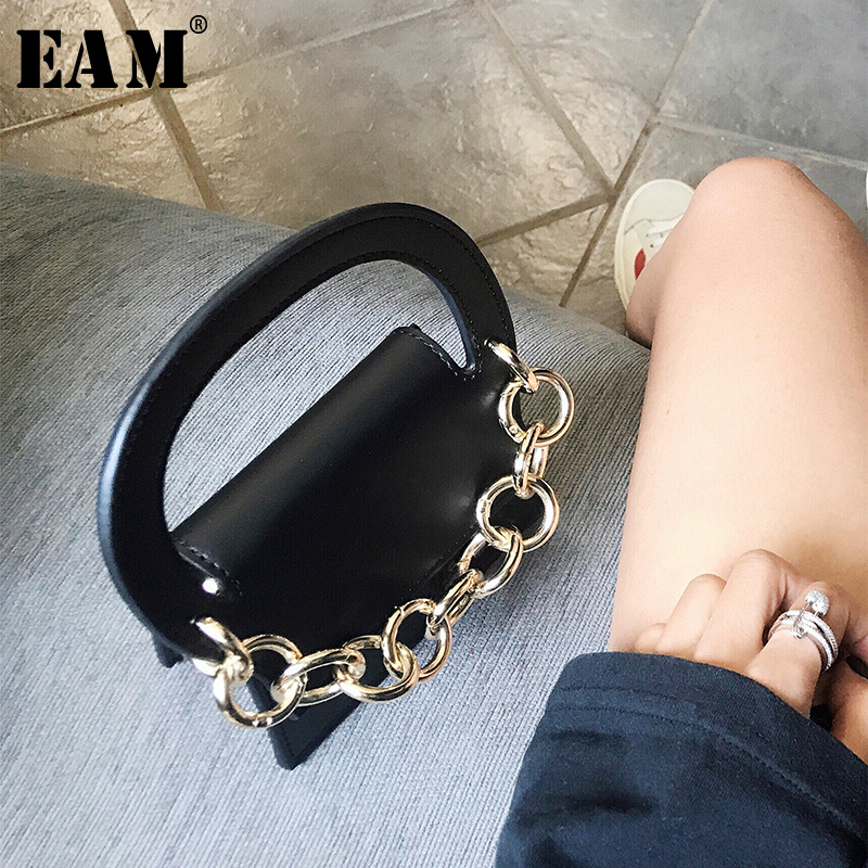 [EAM] 2019 New Spring Summer Pu Leather Chain Split Joint Personality Accessories Women Fashion Tide All-match JR919