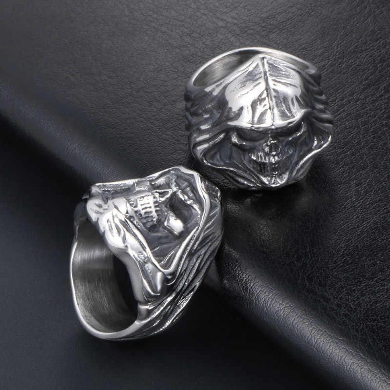 فريد كول الجمجمة فنجر خواتم للرجال النساء مجوهرات بسيطة الثقيلة الفولاذ المقاوم للصدأ خاتم راكبي دراجات Signet عالية الجودة مجوهرات هدية 2020