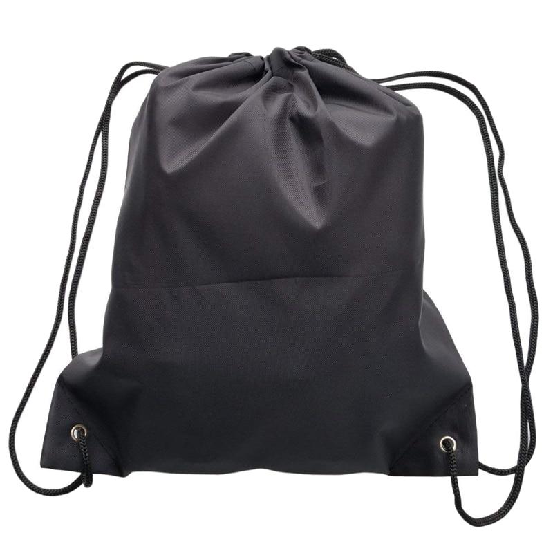 6 Pack Drawstring Backpack Bags 420D polyester Folding Shoulder Tote Sack Cinch Bag for Picnic Gym