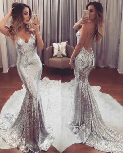 2019 New Fashion Formal Long Dress Women Sequins Silver Dress Prom Evening Gown Ball Party Bridesmaid V Neck Dress Costume
