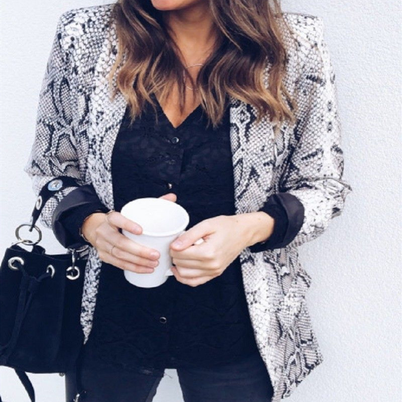2018 Frauen England Stil Schlangen Print Blazer Taschen Kerb Kragen Langarm Mantel Weibliche Oberbekleidung