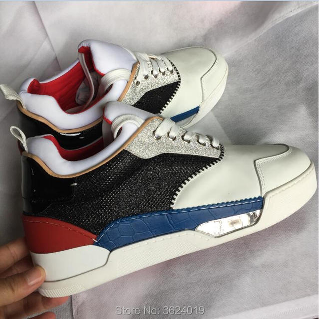 High-Cut cl andgz Newest Mixed colors Black Glitter Lace-up Shoe Red bottom  For Man shoes Sneakers Leather Loafers 2018 Footwear f330494df788