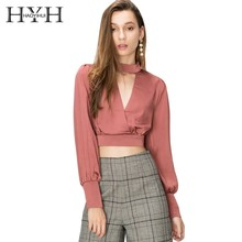 HYH HAOYIHUI  2019 Summer Girls Simple Style Commuter O-neck Sexy Back Hollow Tie Bow Short Top