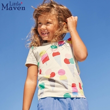 Little maven summer little girls clothing short sleeve tshirts ice cream pattern 2018 kids clothes