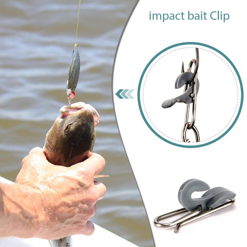 10pcs Stainless Steel Impact Bait Clip IMPS Impact Bait Clip Fishing Hook Decoupling Accessories