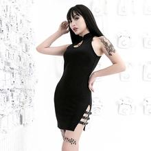 Sexy Off Shoulder Short Dress Women Mini Gothic Hollow Split Casual Summer 2019 Punk Clubwear Black Slim Girl Bodycon Dresses(China)