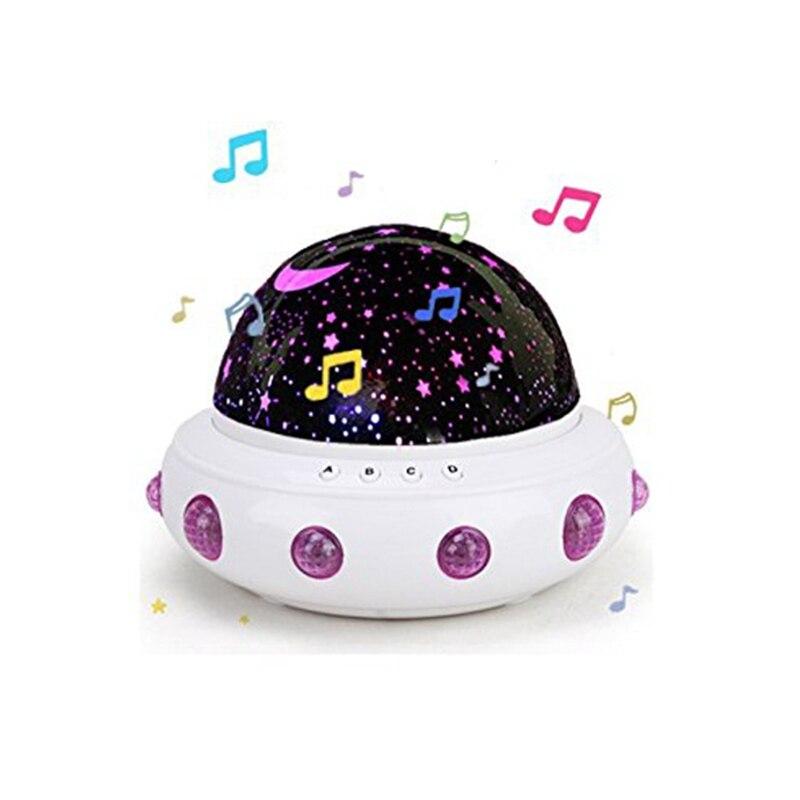 UFO形状音楽星空の手先の投影ナイトライトロマンチックなポインターLED USBライトバッテリーデスクランプ