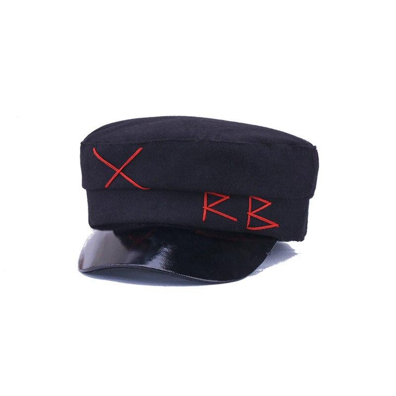 2019 Hairy Winter Hat Women Fashion Berets Hats For Girls Street Style Wool Caps Women Brand Hat Military Cap Black Flat Caps