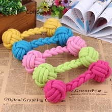 New Dog Toys Colorful Bite Resistant Dumbbell Cotton Rope Puppy Aggressive Chewers Durable Braided Bone For Small Large