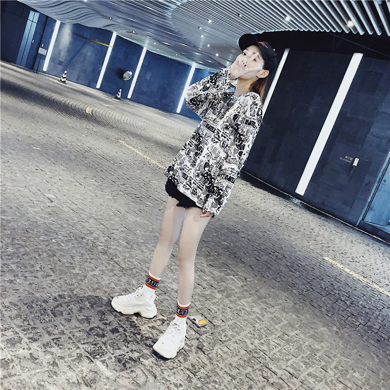 Women's Clothing Autumn Korean ulzzang Tops Casual loose hipster letter Print harajuku Tees BF O-neck long sleeve New T-Shirts 6