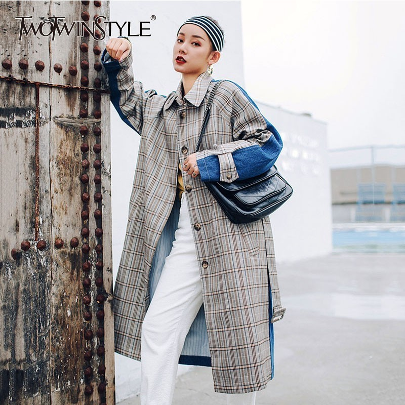TWOTWINSTYLE Autumn Plaid Women s Windbreakers Long Sleeve Hit Colors Patchwork Vintage Long Trench Coat Female