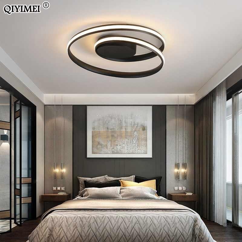 Современные потолочные светильники, светодиодный светильник для гостиной, спальни, кабинета, белого и черного цвета, монтируемый на поверхности потолочный светильник, декоративный AC85-265V