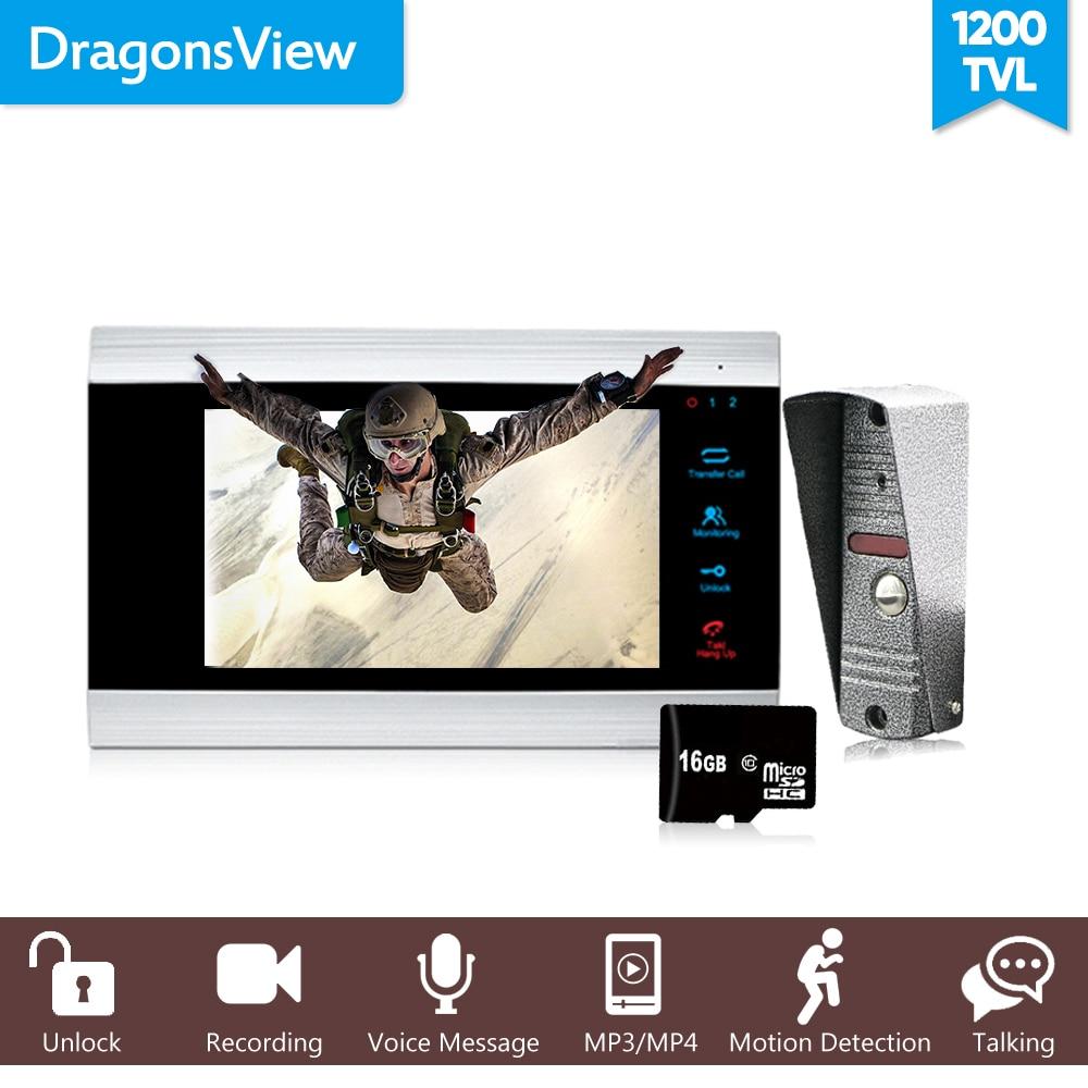 Dragonsview 7 Wired Video Intercom System Door Phone Recording SD Card 16GB Metal Doorbell Intercom 1200TVL Motion Detection