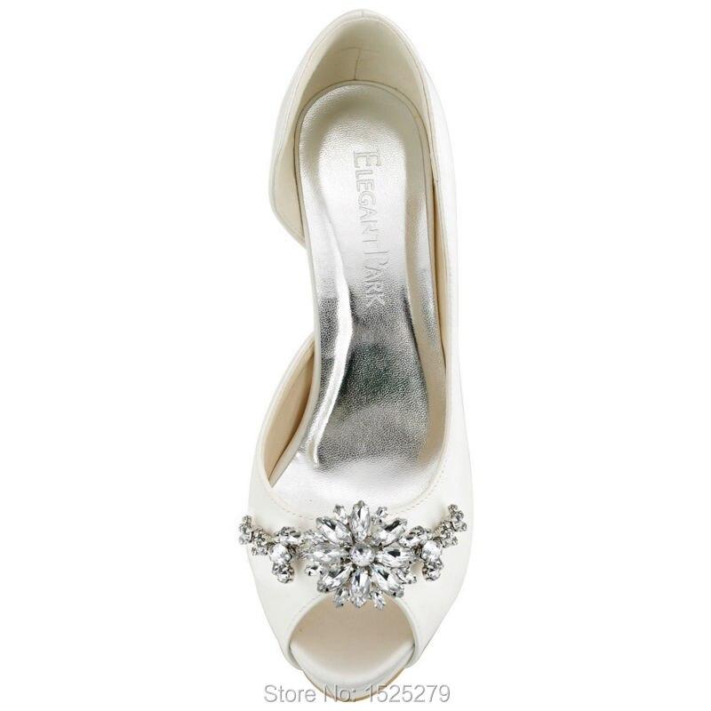HP1552I femmes chaussures taille 7 ivoire mariée soirée fête D'orsay plate-forme à talons hauts cristal dames mariée demoiselle d'honneur chaussures de mariage - 4