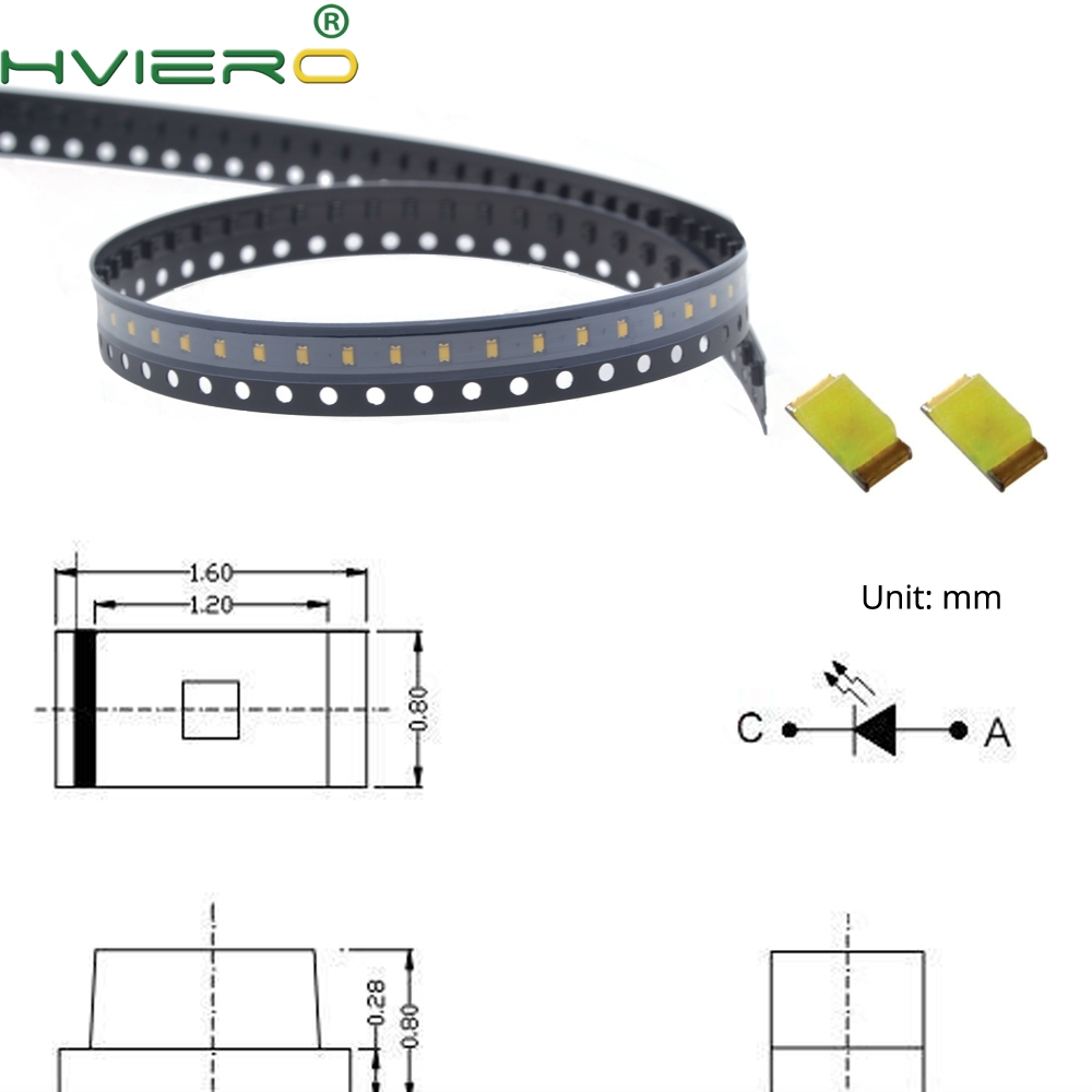 100pcs 0603 White Red Green Blue Yellow Ultra Bright SMD 20MA SMT LED Diode Chip Light Emitting Diodes Super Bright Light Beads
