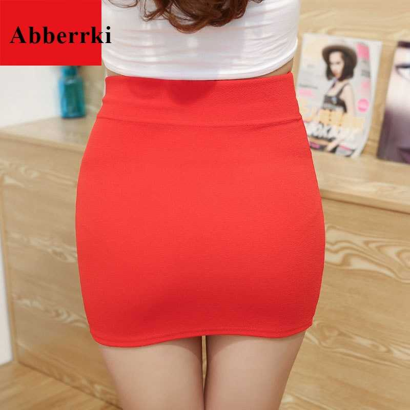 Korean Style Candy Color Elastic Waist Super Mini Skirt Sexy Women High Waist Short Skirt Office Party Pencil Skirts
