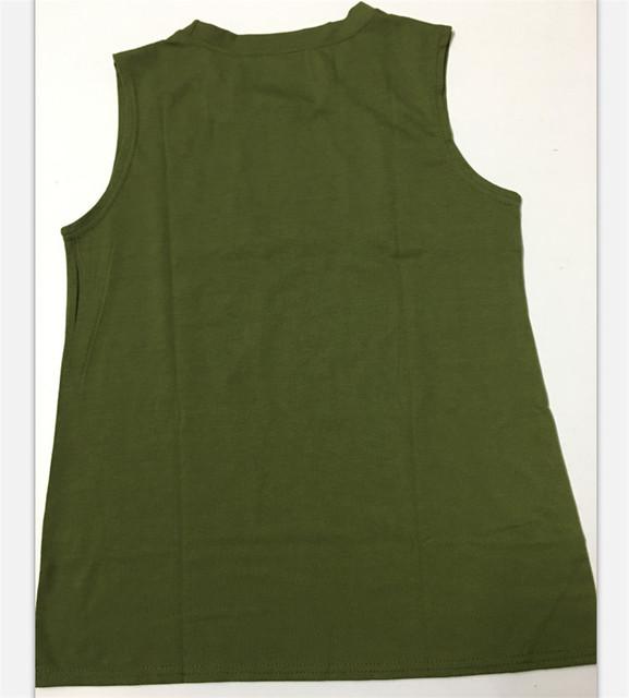 Women Tank Tops Cotton Casual T-Shirt Summer Sleeveless Tops Tee Wanderlust Army Green  Tank Ladies