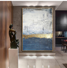 Pop Hand-painted High Quality Modern Gold and Blue Abstract Oil Painting on Canvas for Living Room Decor Wall
