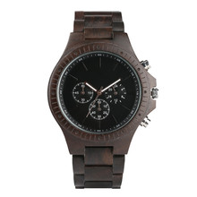 Luxury Chronograph Black Color Wooden Watch Men Small Dial Men's
