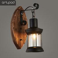 Artpad American LOFT Vintage Wall Lamp Clear Glass Lampshade Wood Black Wall Light For Bedroom Living Room Corridor Wall Light