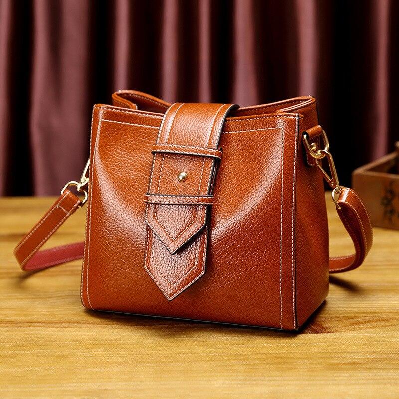 Kajie – sac à main Vintage en cuir véritable pour femmes, sacoche à  bandoulière marron, poignée supérieure