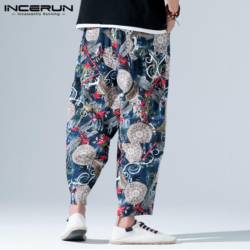 INCERUN Vintage Print Männer Casual Hosen Baumwolle Elastische Taille Jogger Lose Hosen Männer Streetwear Chinesischen Stil Harem Hosen Männer
