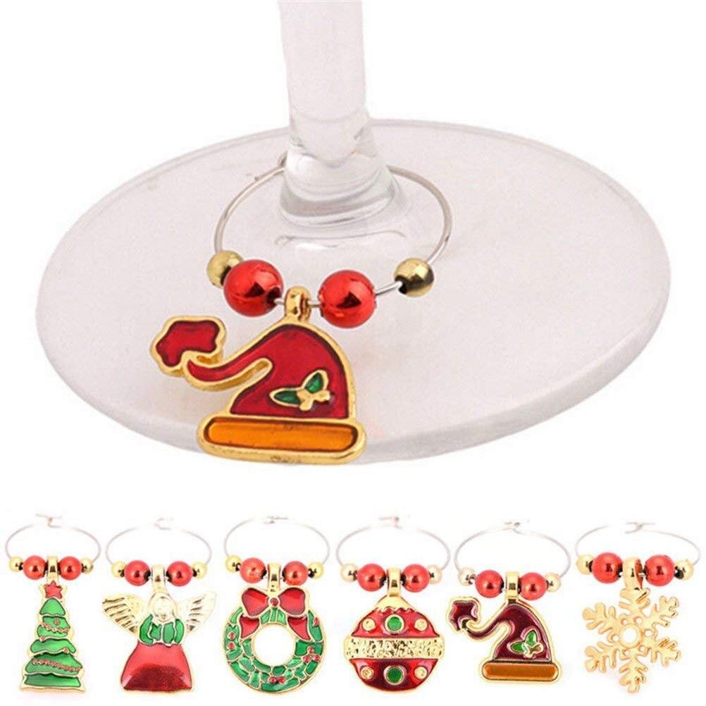 6 Pack Chirstmas Wijnglas Charmes Ringen Wijnglas Markers voor Xmas Party Bar Tafel Decoraties