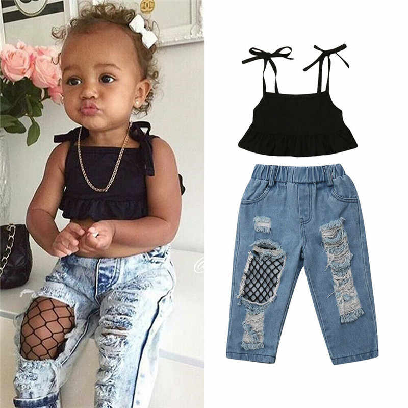 1 6years Kids Baby Girls Summer Outfits Fashion Party Clothes Sleeveless Black Vest Crop Tops Fish Net Denim Pants 2pcs Sets Clothing Sets Aliexpress