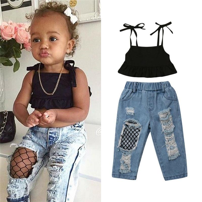 1-6years Kinder Baby Mädchen Sommer Outfits Fashion Party Kleidung Ärmellose Schwarze Weste Ernte Tops + Fisch Net Denim Hosen 2 Pcs Sets