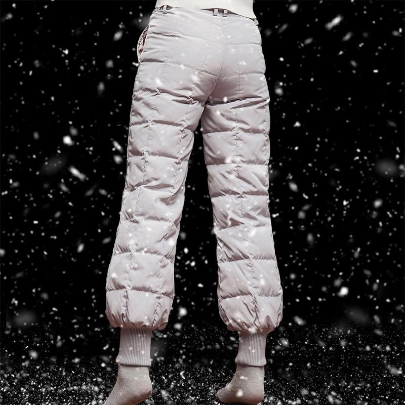 M-5XL Plus Size Winter Women White Duck Down Bloom Pants Outdoor Men Warm Waterproof Windproof Trekking Hiking Camping Trousers