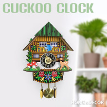 3D Wooden Cuckoo Wall Clock Swinging Pendulum Traditional Wood Hanging Crafts Decoration for Home Restaurant Living Room(China)
