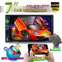 7'' GPS HD Mp3 Mp5 Player Stereo Radio Car bluetooth FM RDS Quick Charge Mirror Link Cam SWC Remote Car Monitor DVD Car Screen