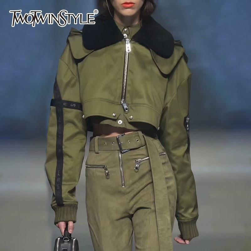TWOTWINSTYLE Для женщин толстовки куртки для Для женщин укороченный Топ с длинным рукавом Топы с коротким пальто женский 2018 осень Корейский стиль...