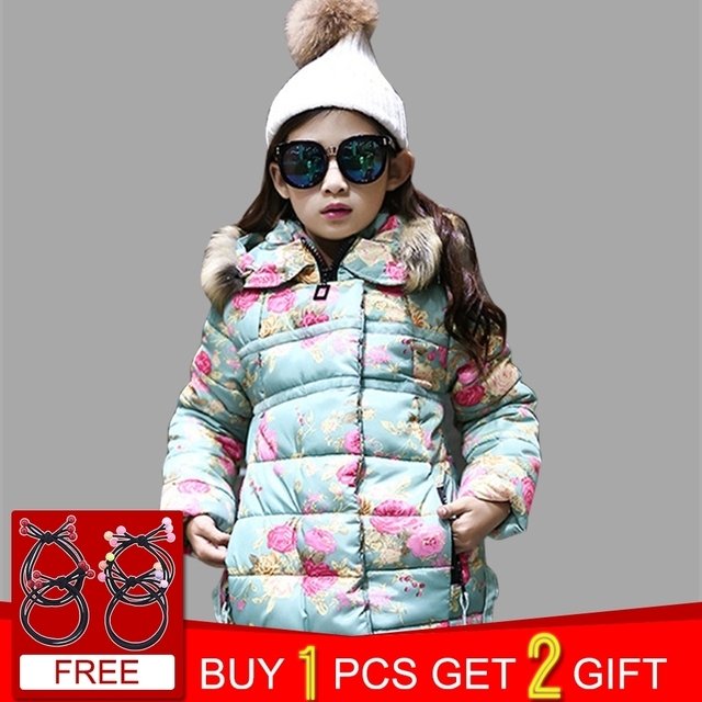 1140d7f32aa5 Girls Winter Jackets Thick Floral Hooded Fur Jackets Kids For Girls Autumn  Children s Clothes Teen Girls Clothing 6 8 12 Years