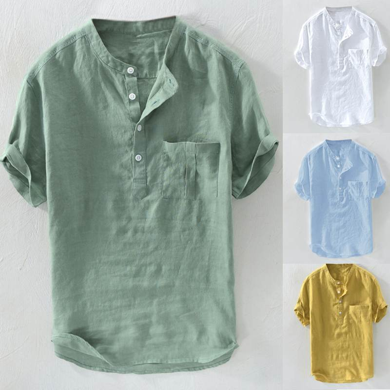 Casual Henley Shirts Stylish Mens Shirt Dress Short Sleeve Slim Fit Summer Plain Tee Camiseta Chemise Beach Vacation Clothing