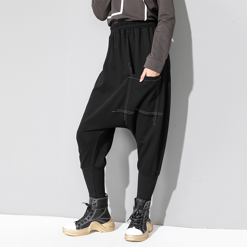 Thick Black Vintage Harem Pants Women 2019 Autumn Winter England Style Front Pockets Trousers High Waist Plus Size Baggy Pants