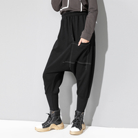 Thick Black Vintage Harem Pants Women 2018 Autumn Winter England Style Front Pockets Trousers High Waist Plus Size Baggy Pants