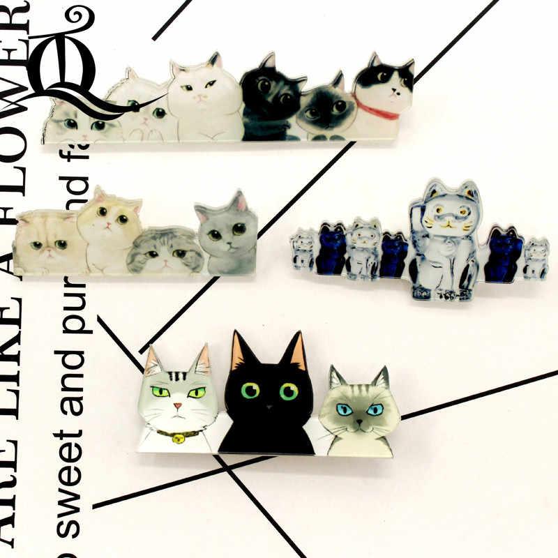 Gratis Pengiriman 1 Pcs Lukisan Kartun Kucing Lencana untuk Pakaian Akrilik Lencana Kawaii Ikon Di Ransel Pin Bros Lencana 07