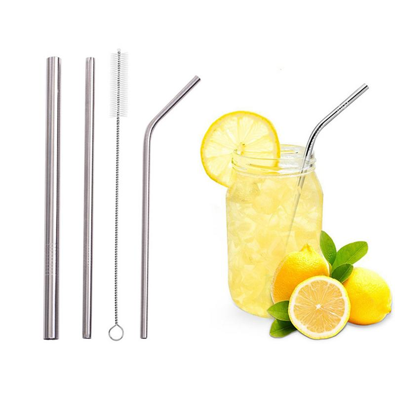 Combination-Bag-Sets Straws-Set 4piece Metal Beverage Stainless-Steel High-Quality