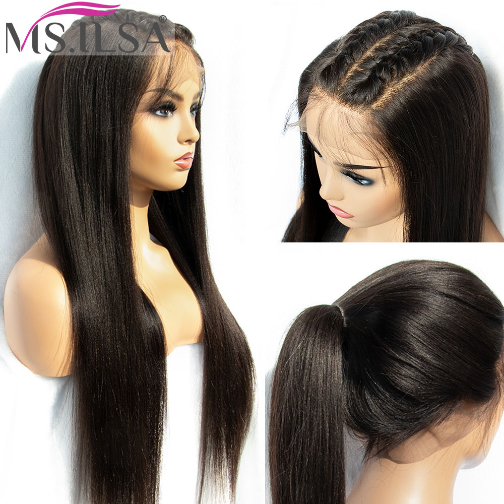 MS.ILSA Full-Lace-Wig Hair-Light Remy-Hair Yaki 250-Density Natural-Color Wigs Human title=