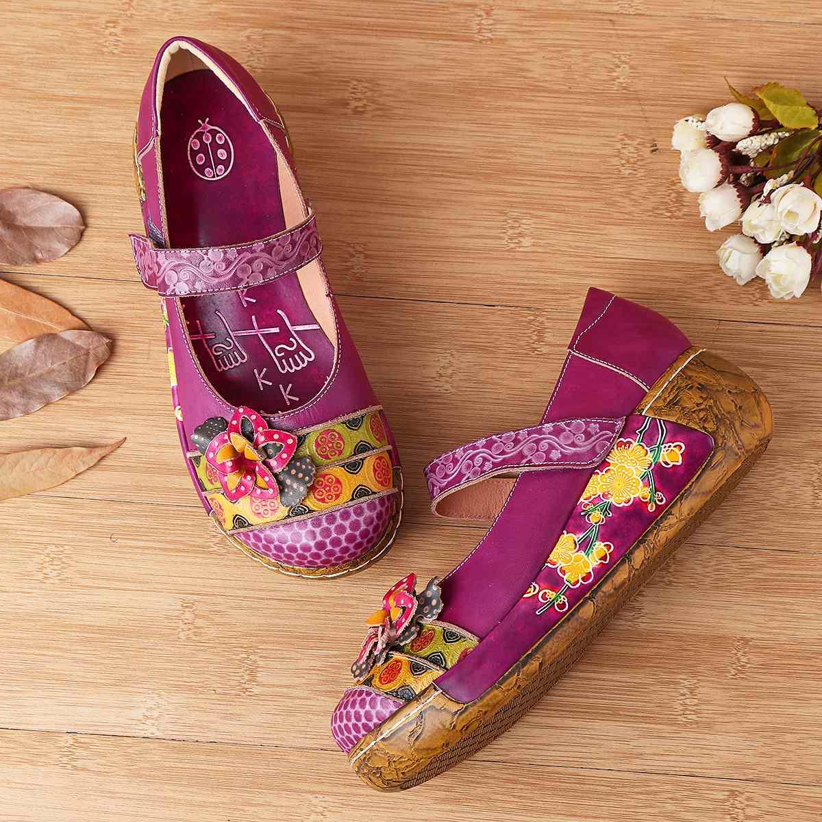 NIS bohème Style Vintage femmes chaussures plates femme printemps été véritable en cuir plate-forme chaussures décontractées à la main fleur nouveau