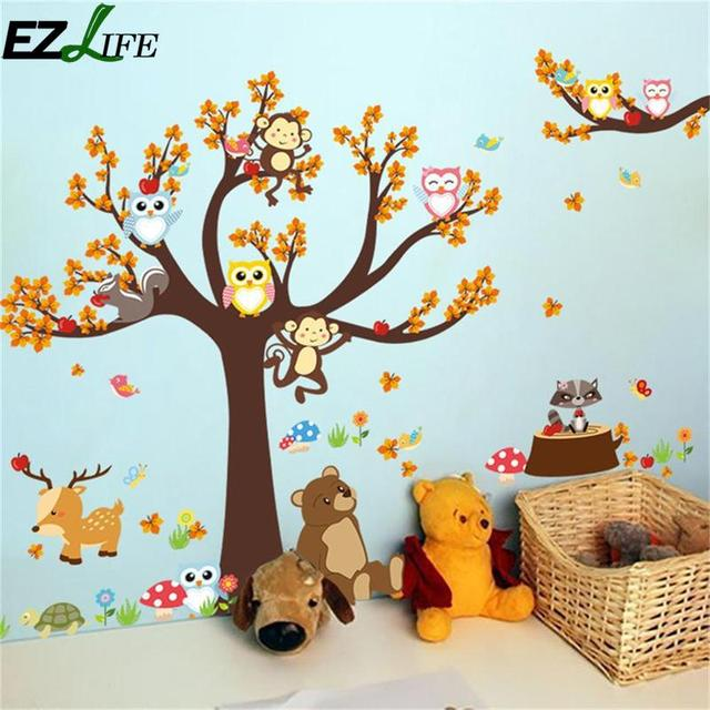Leaf Tree Branch Tree Animal Owl Bear Deer Cartoon Monkey Wall Stickers For Kids Kid Room Decal Forest Home Decoration