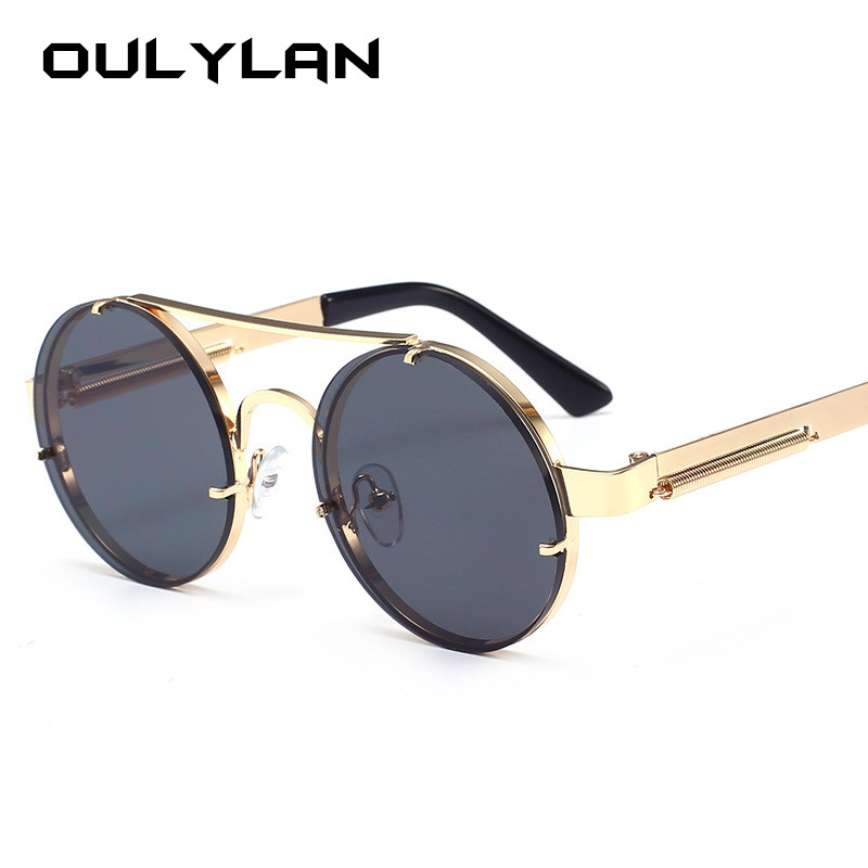 Oulylan Vintage Round Steampunk Sunglasses Women Men Brand Metal Sun Glasses Ladies UV400 Steam Punk Design Sunglass Male Female