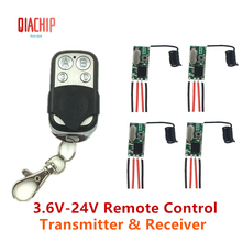 QIACHIP 433MHz Remote Control Switch DC 5V 12V Mini LED Light Receiver Relay with Transmitter Remote Control Smart Home dc 3 5v 12v mini relay switch 2 receiver transmitter