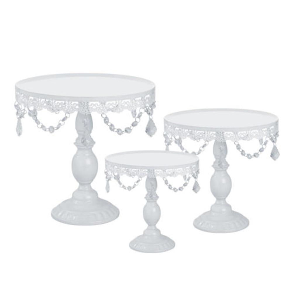 Set of 3 Iron Crystal Stand Wedding Stand Cake Stand Round Wedding Birthday Party Dessert Cupcake Pedestal Display Plate