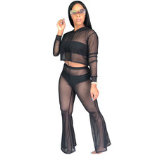 black sexy transparent 2 piece set women see through free shiping long sleeve womens clothing two top and pants suit