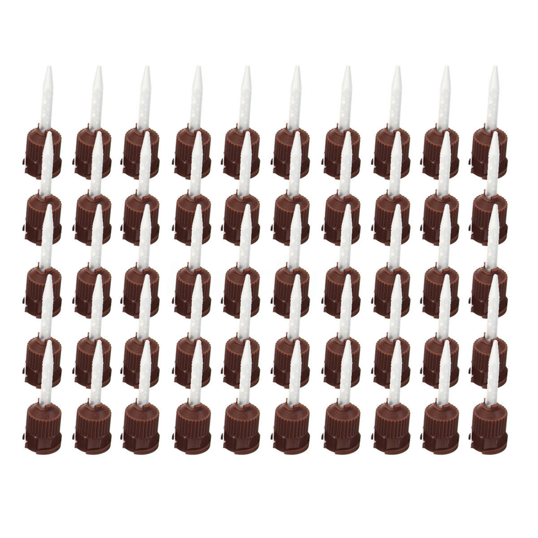 In Stock  ELEG-50x Dental Impression Tip Temporary 1: 1 Silicone Rubber 50X Brown Straight Tip
