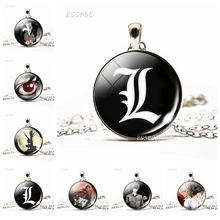 Fashion Accessories Handcraft Game Badge Necklace Pendant Death Note Light Yagami Anime Glass Dome for Women Men Jewelry Gift