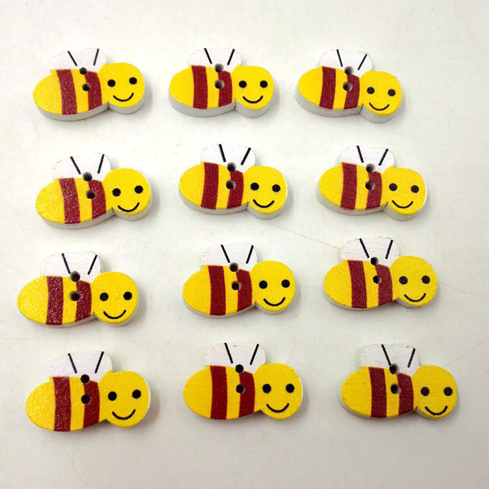 Wooden Yellow BEE Buttons