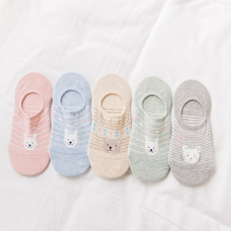 Colorful Animal Invisible Short Woman Sweat Summer Comfortable Cotton Girl Women's Boat Socks Ankle Low Female 1pair=2pcs XG36